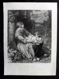 After Pickersgill C1870 Art Journal Print. A Rest on the Hill
